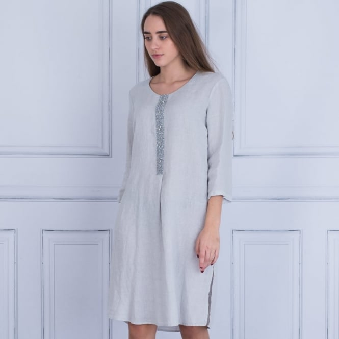 120% LINEN Embellished Front Tunic Dress In Silver