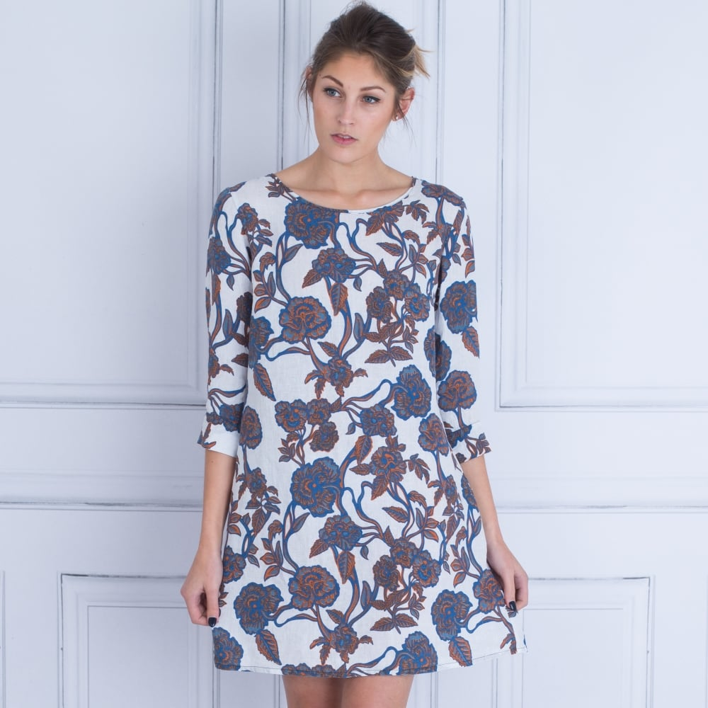 4fba508761 N120% Linen N0W4583F533000 Floral Rose Print Dress in White multi