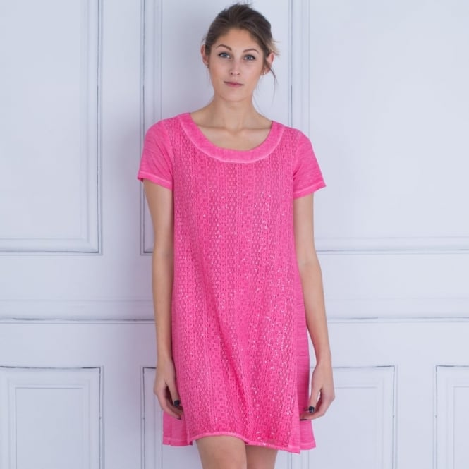 120% LINEN Knitted Linen Sparkle Dress in Fuchsia