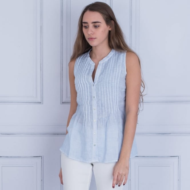 120% LINEN Pintuck Pleat Front Blouse In Sea Blue