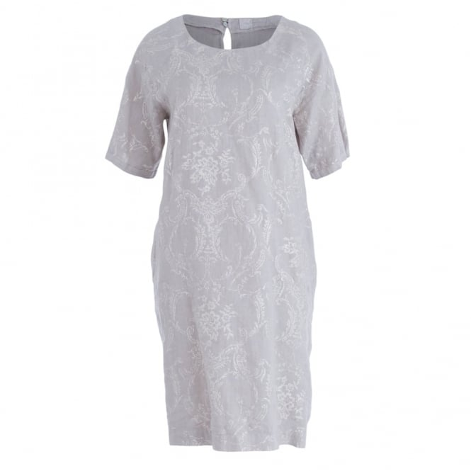 120% LINEN Short Sleeve Glitter Print Dress With Pockets In Taupe