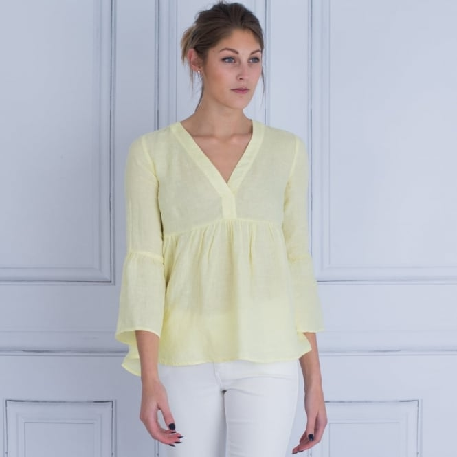 120% LINEN V Neck Gathered Sleeve And Body Blouse in Yellow