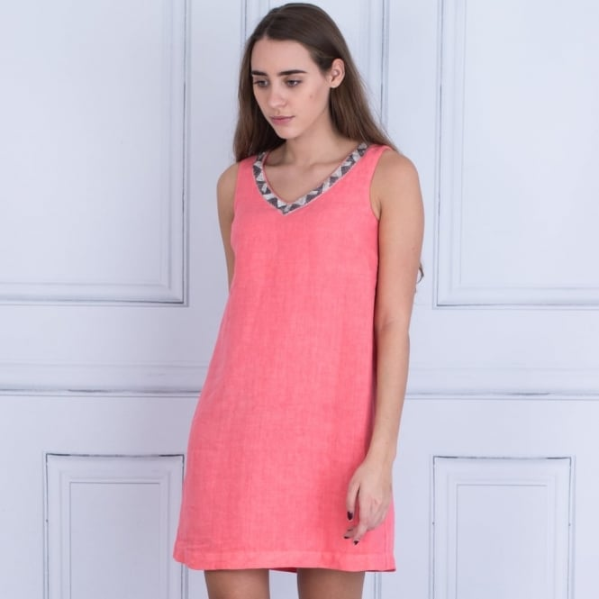 120% LINEN V Neck Sleeveless Dress With Embellished Neck In Salmon