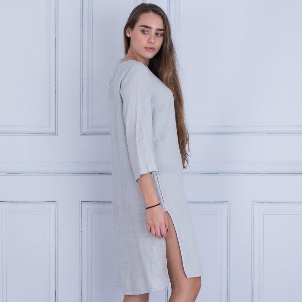 95f1ea8fffe 120% Linen NOW4616B317002 Embellished Front Tunic Dress In Silver