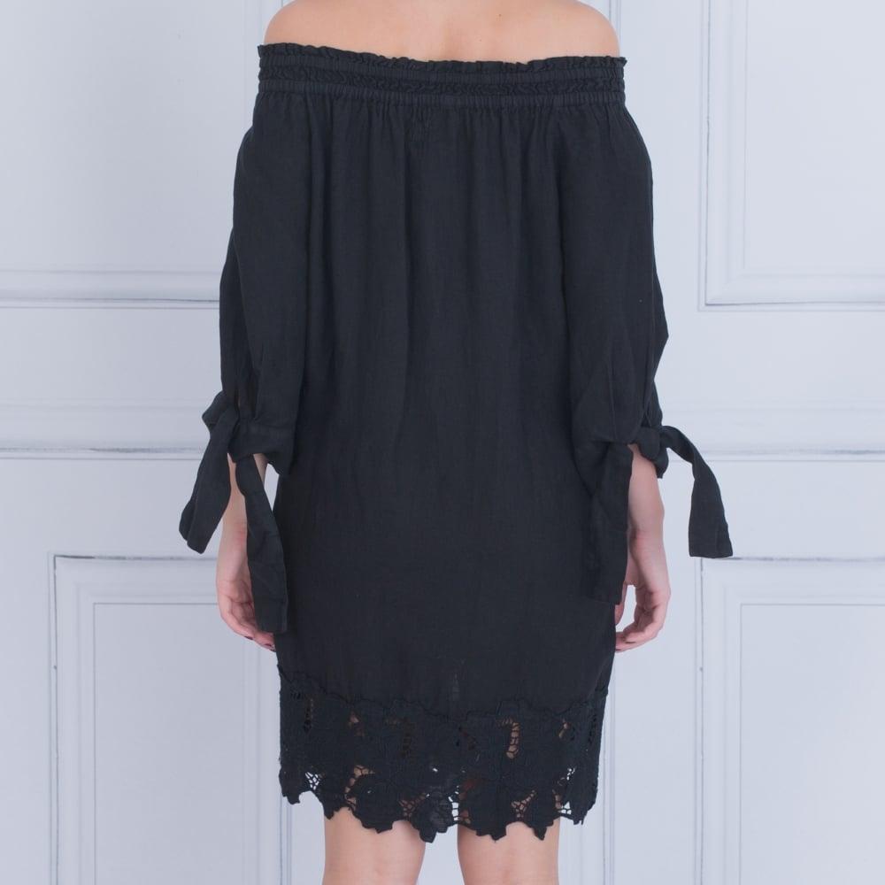 0b3b10b76f 120% Linen Off Shoulder Tie Sleeve Bardot Dress With Embroidered Hem ...