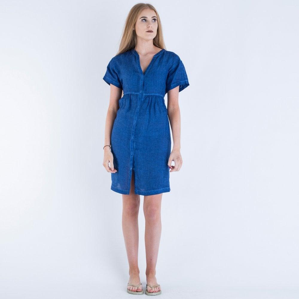 d03223b8a9 120% Lino V Neck Button Through Dress Blue