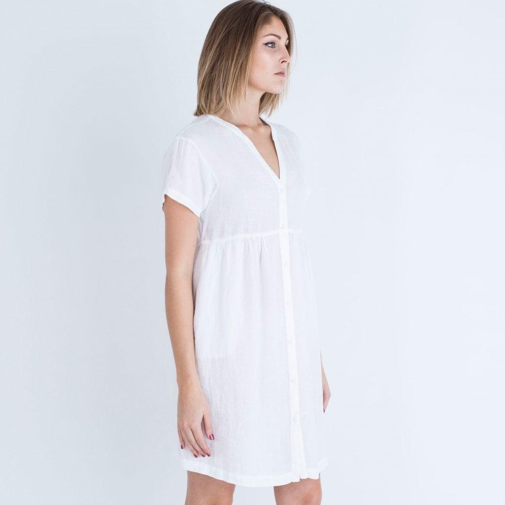 a0d6790a9e 120% Lino V Neck Button Through Dress White