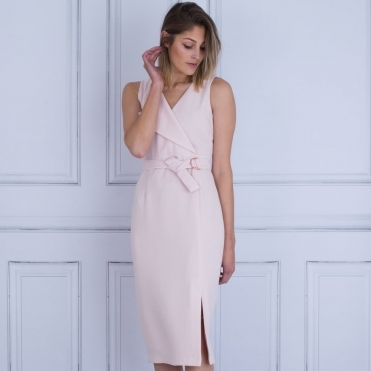 Belted Sleeveless Dress In Blush