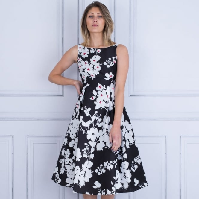 ADRIANA PAPELL Floral T Dress With Pleat And Pocket In Black/White