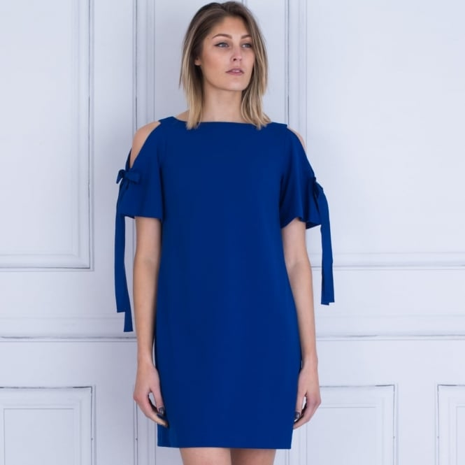 ADRIANA PAPELL Ribbon Tie Shift Dress In Cobalt