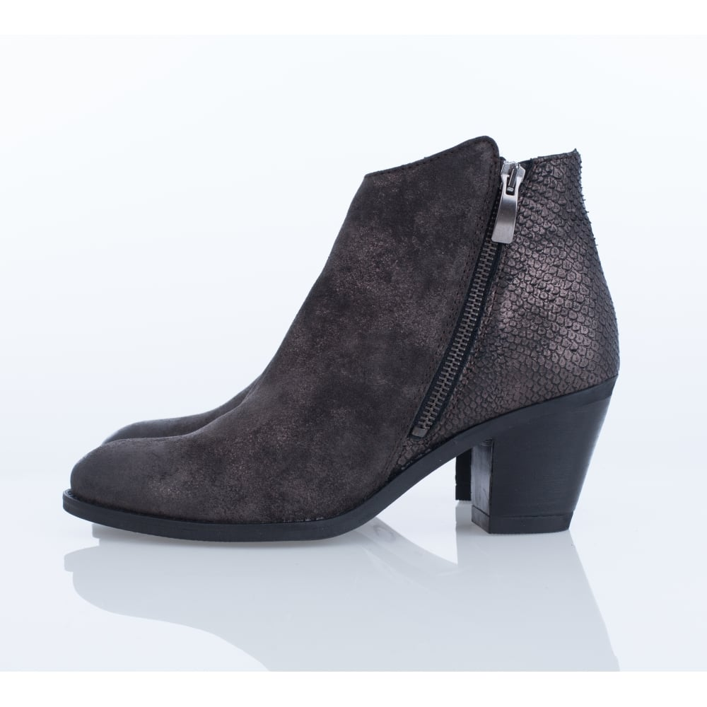Alpe Ankle Boot With Snake Heel Detail