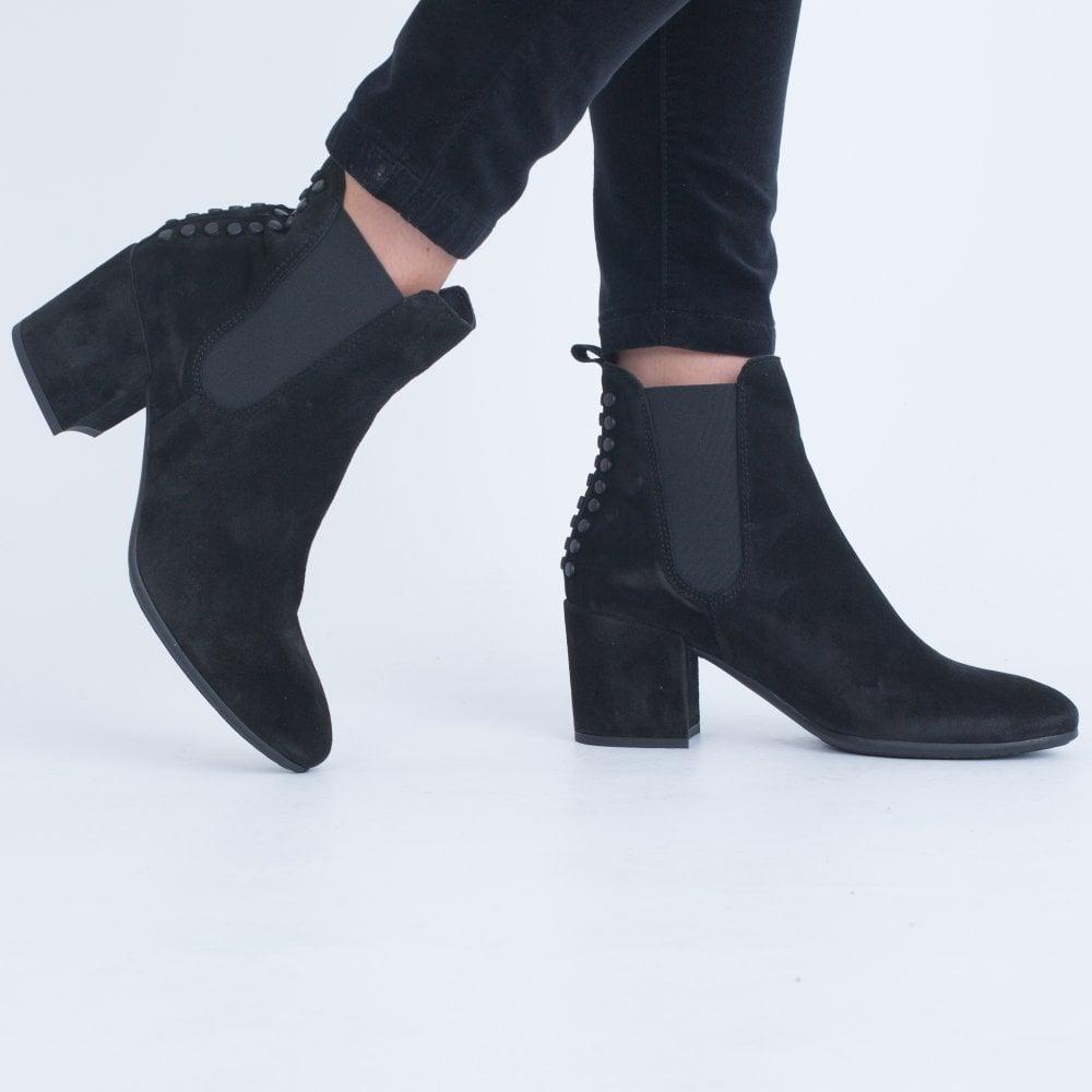 Circle Stud Ankle Boot Block Heel Black