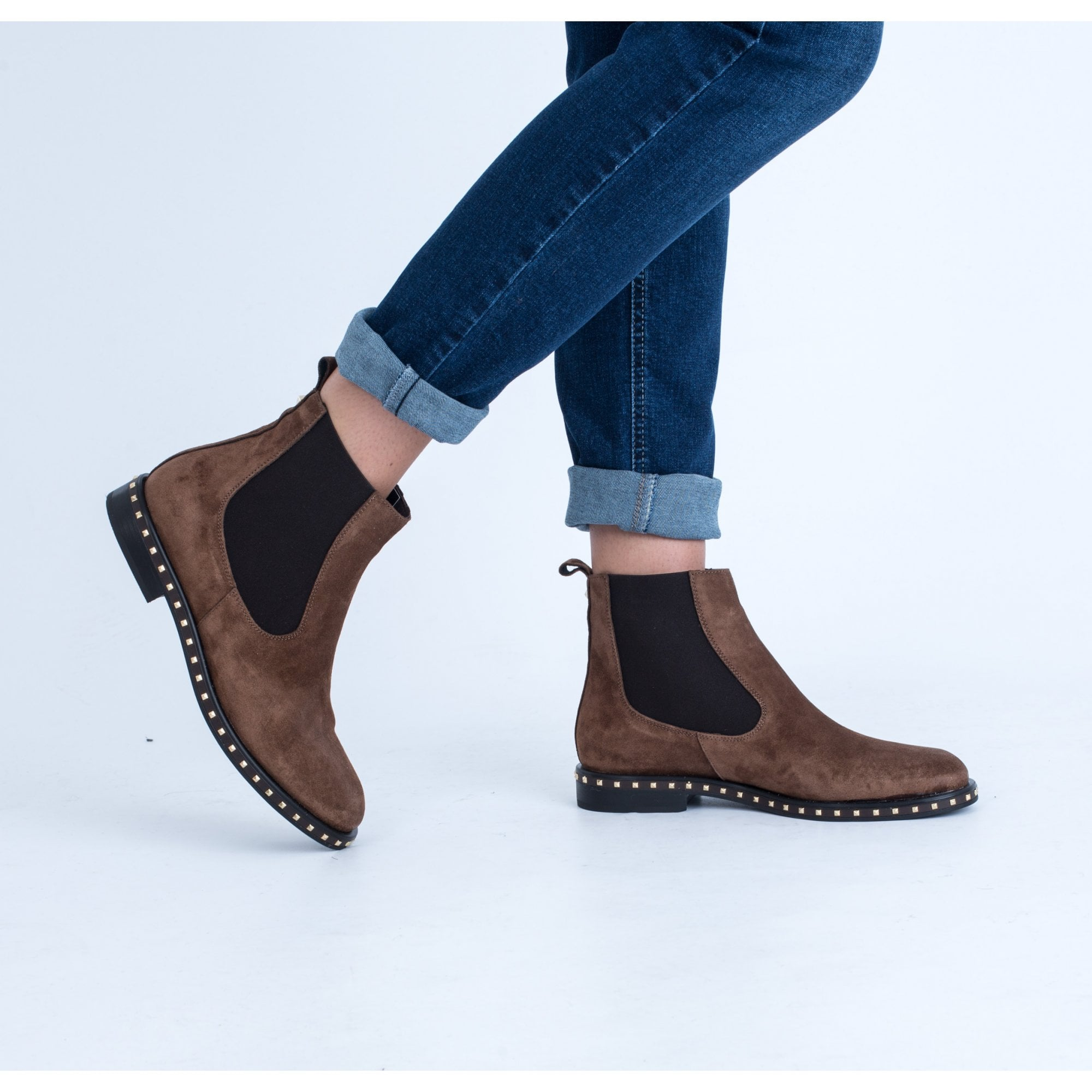 Alpe Flat Studded Chelsea Boot In Suede