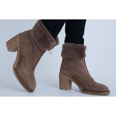 c8ef732b5b31 Alpe Fur Top Zip Front Suede On Crepe Sole Boot Taupe 3675 11 63