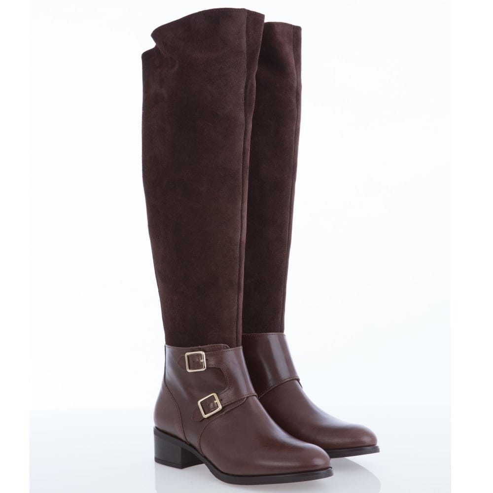 b0a17221c08 Half Suede Half Leather Knee High Boots With Ankle Buckle in Chestnut Brown