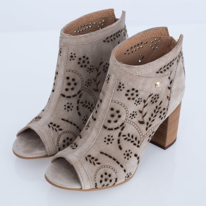 ALPE Peep Toe Floral Cutwork Suede Ankle Boot In Stone