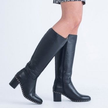 e7065f28d69 Alpe Shorter Boot With Back Square Stud And Sole Black
