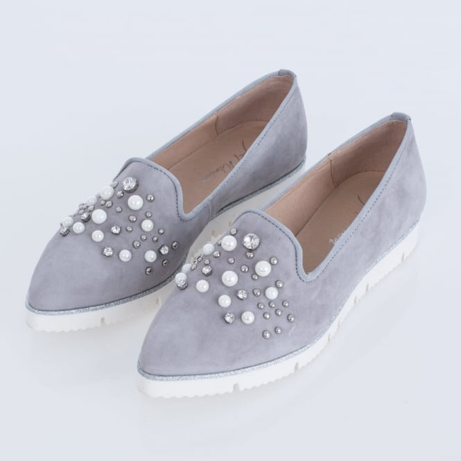 ALPE Slip On Loafer With Pearl & Jewel Detail With Pointed Toe In Grey