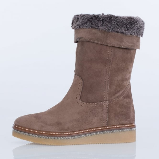 Slouchy Suede Fur Lined Boot In Taupe