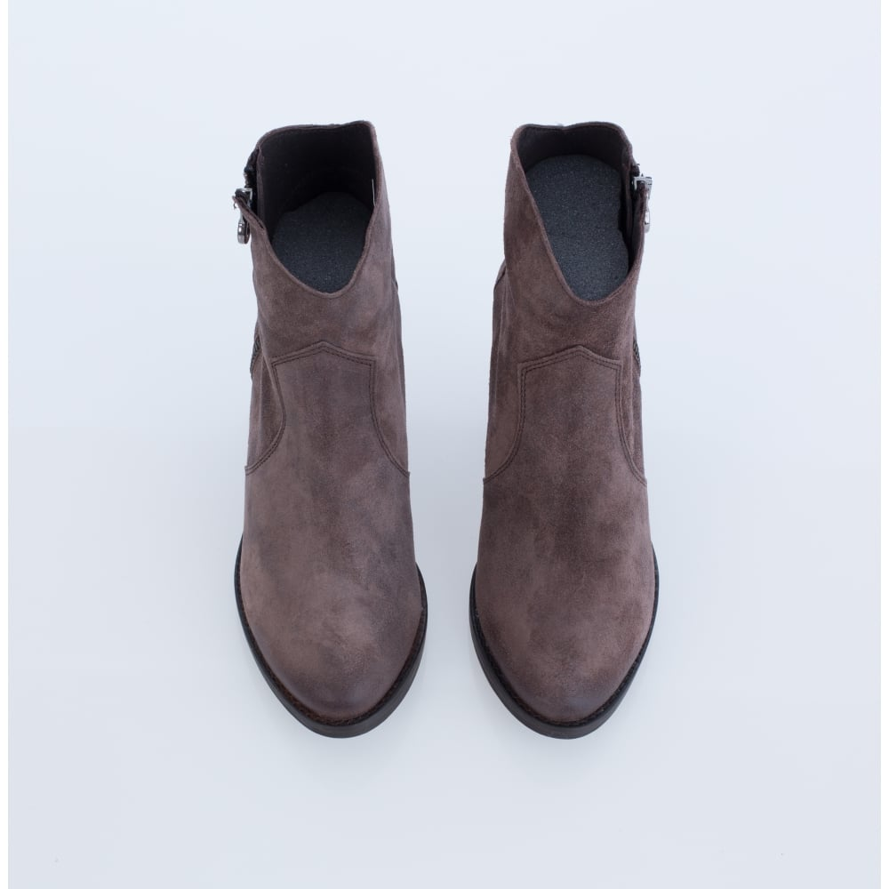 ALPE Alpe Suede Ankle Boot With Sparkle Finish Taupe