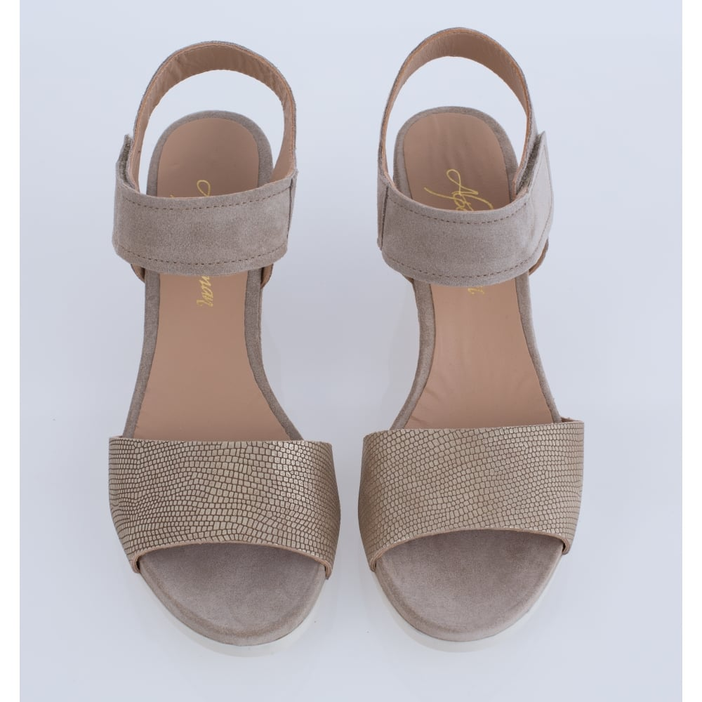 b11c3bbd7bb82 Taupe Suede Wedge Sandle With Gold Snake Strap