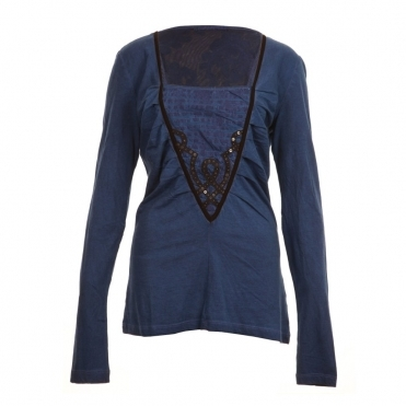 V Panel Lace Top in Cobalt
