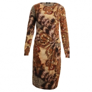 Feather Print Jersey Dress in Brown, Gold & Orange