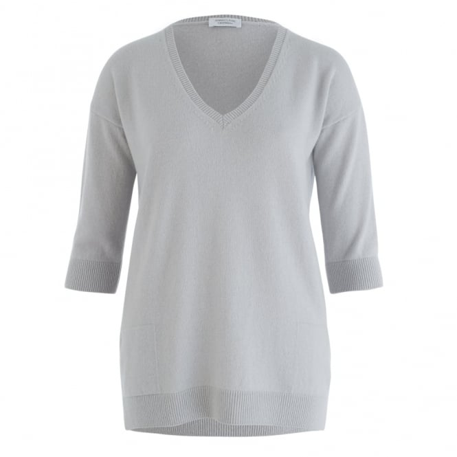 ANNE CLAIRE Cashmere V Neck Jumper In Grey