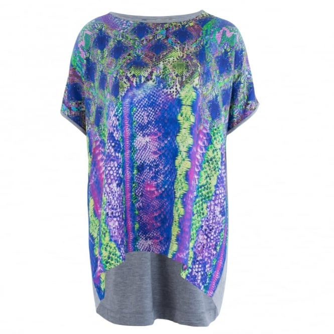 ANNI CARLSSON Silk Front Top With Jersey Back In Purple Snake Print