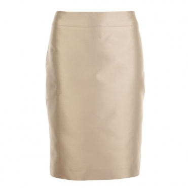 Pleated Silk Skirt in Silver