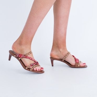 0a06203c317a Ash Slip On Stud With Scarf Detail Kitten Heel Tan