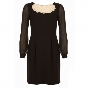 Chiffon Sleeve Dress with Embroided Front Detail in Black & Cream