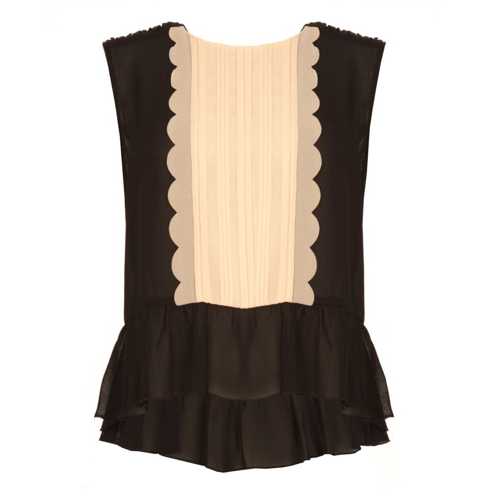 370e182b5f8 Sleeveless Blouse with Pleated Chiffon Detail and Gathered Hem in Black   amp  ...