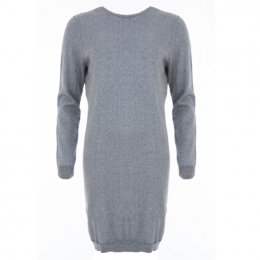 V Back Sparkle Jumper with Back Waterfall Detail in Grey