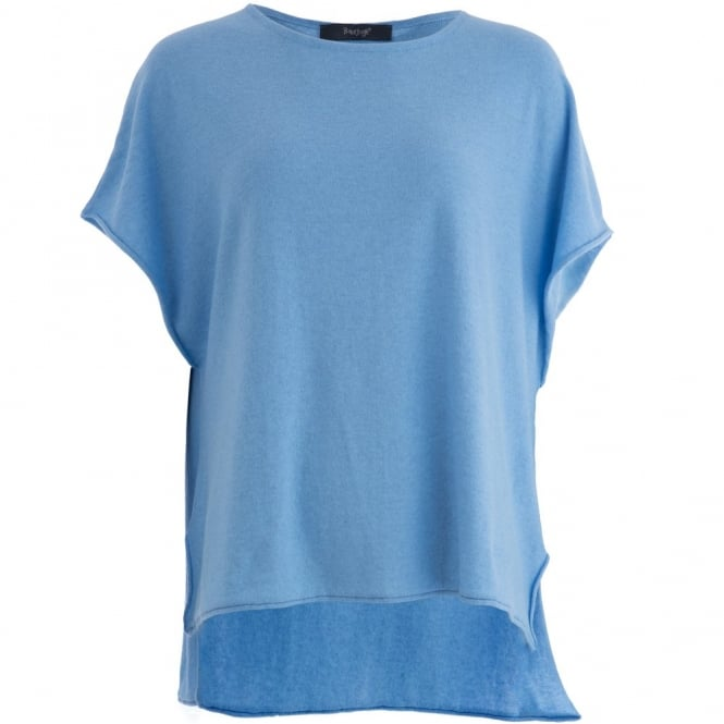 BACKSTAGE Cap Sleeve Dip Back Pullover Minka in Sky Blue
