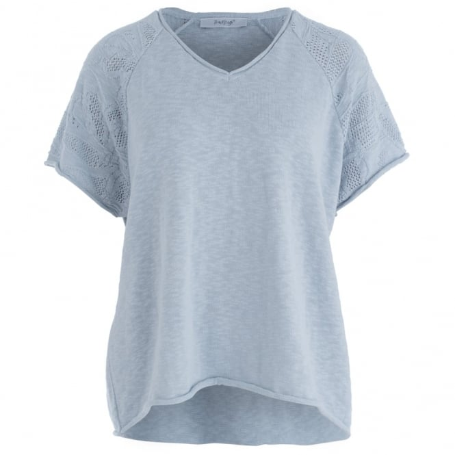 BACKSTAGE Textured Shoulder V-neck Short Jumper In Silver Grey