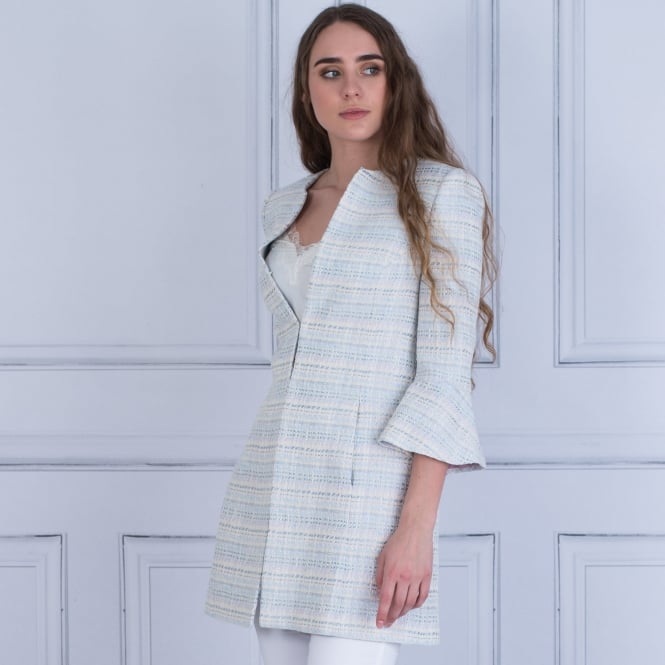 BARILOCHE Aran Longline Tweed Pastel Jacket With Bell Sleeves