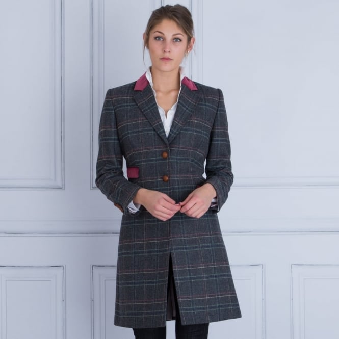 BARILOCHE Check Long Jacket With Pink Velvet Trim in Grey