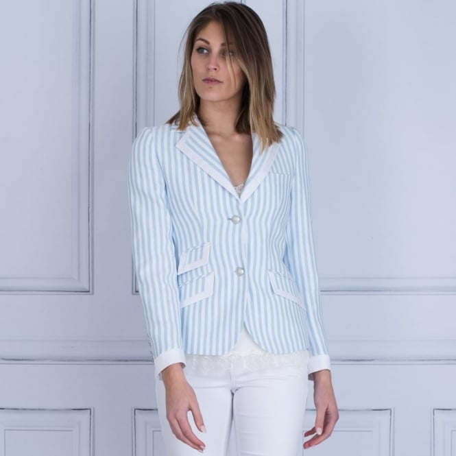 BARILOCHE Stripe Jacket With Contrast Pipe In Sky/Cream