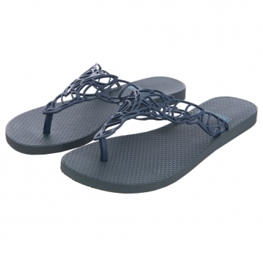 Acacia Flat Flip flop with Open Leaf Weave Design in Navy