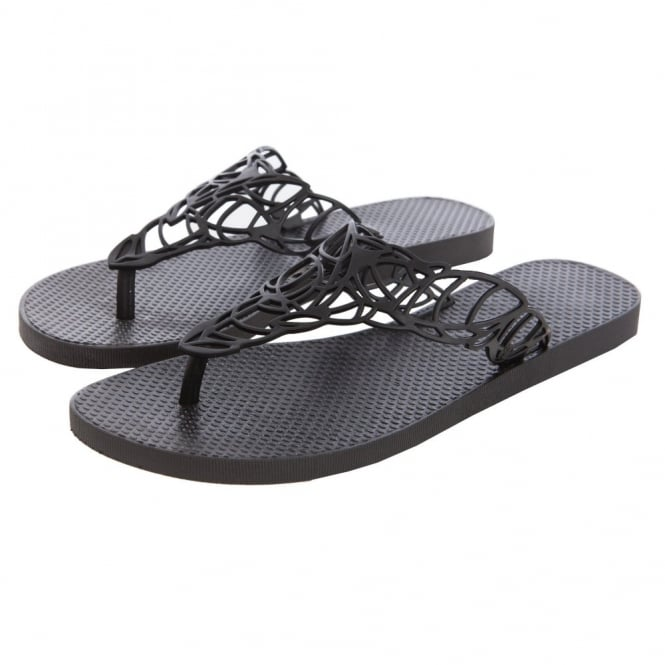 BATUCADA Flat Flip flop with Open Leaf Weave Design in Black