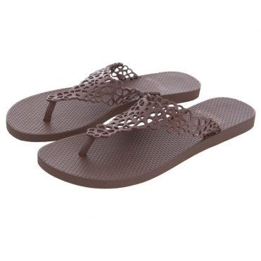 Flip Flop with Open Flower Detail in Brown