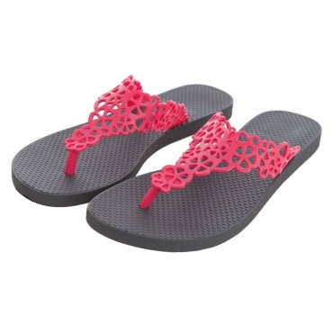 Flip Flop with Open Flower Detail in Red