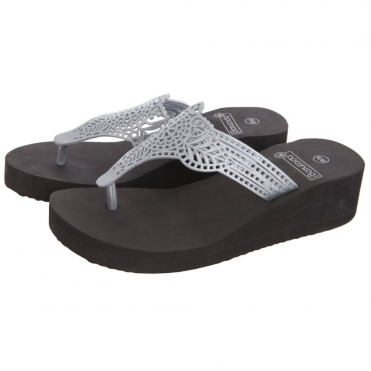Wedge Flip flop with Flower Leaf Print in Silver