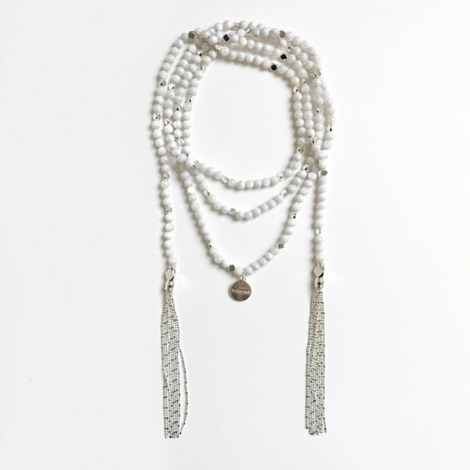 BCHARMED Fiona Grey Freshwater Shell Wrap Necklace In Silver