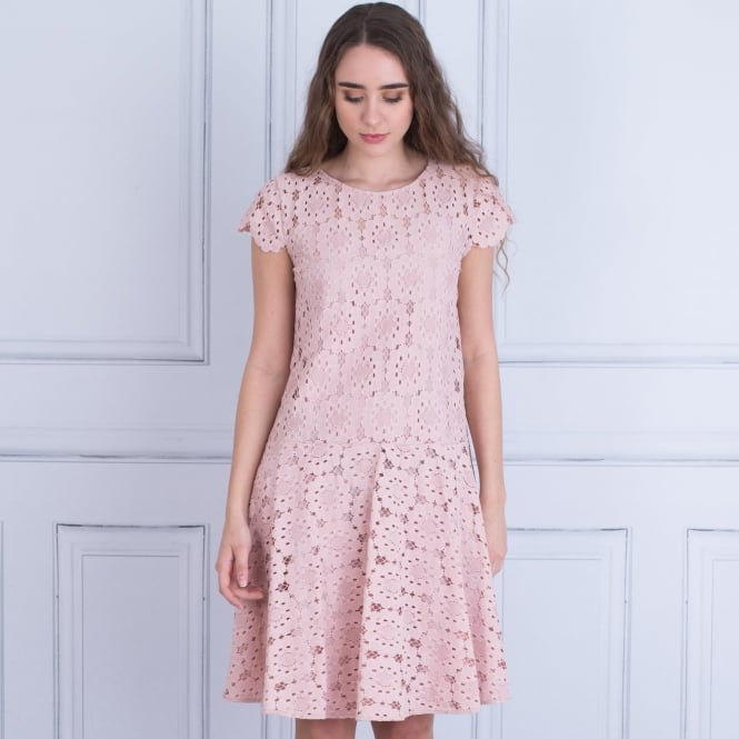 BEATRICE B Cap Sleeve A Line Lace Dress In Pink