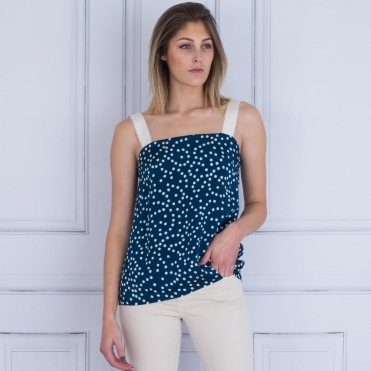 Spot Wide Strap Cami In Blue & White