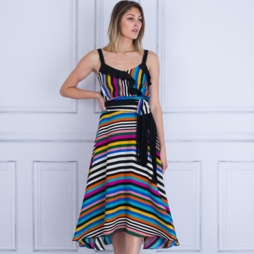 Stripe Maxi With Scarf In Multi