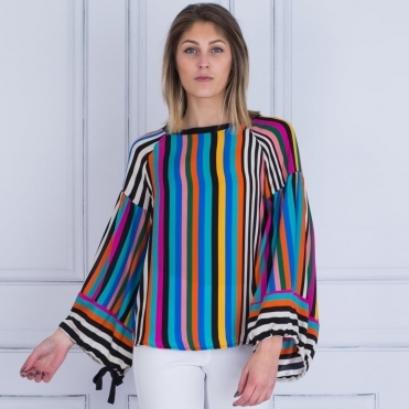 Tie Sleeve Stripe Blouse In Multi