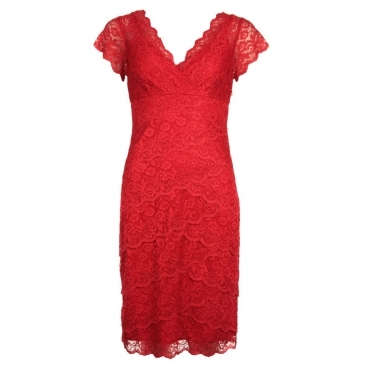 Emilia Short Lace Dress in Red